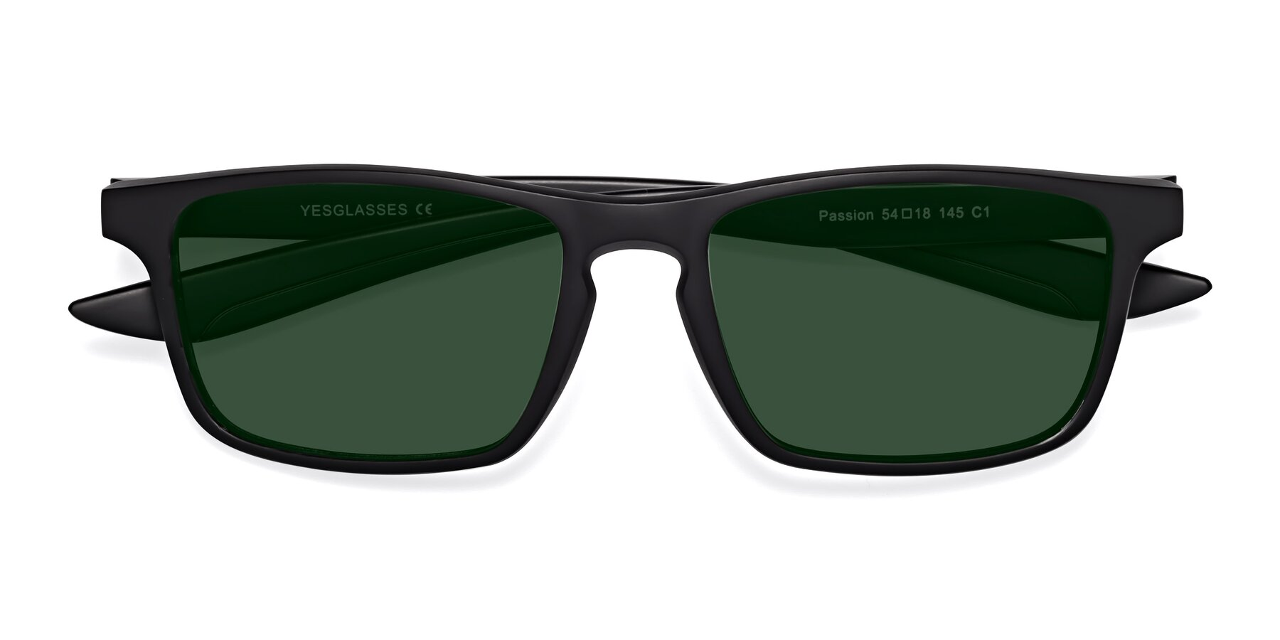 Folded Front of Passion in Matte Black with Green Tinted Lenses
