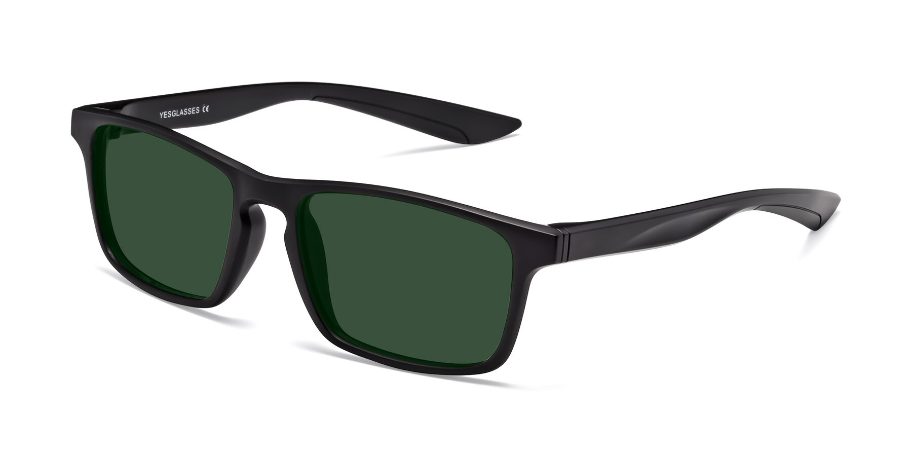 Angle of Passion in Matte Black with Green Tinted Lenses