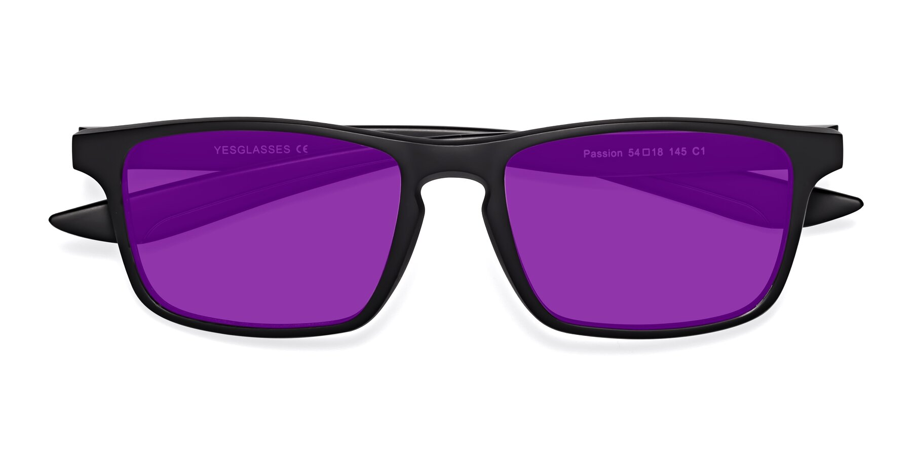 Folded Front of Passion in Matte Black with Purple Tinted Lenses