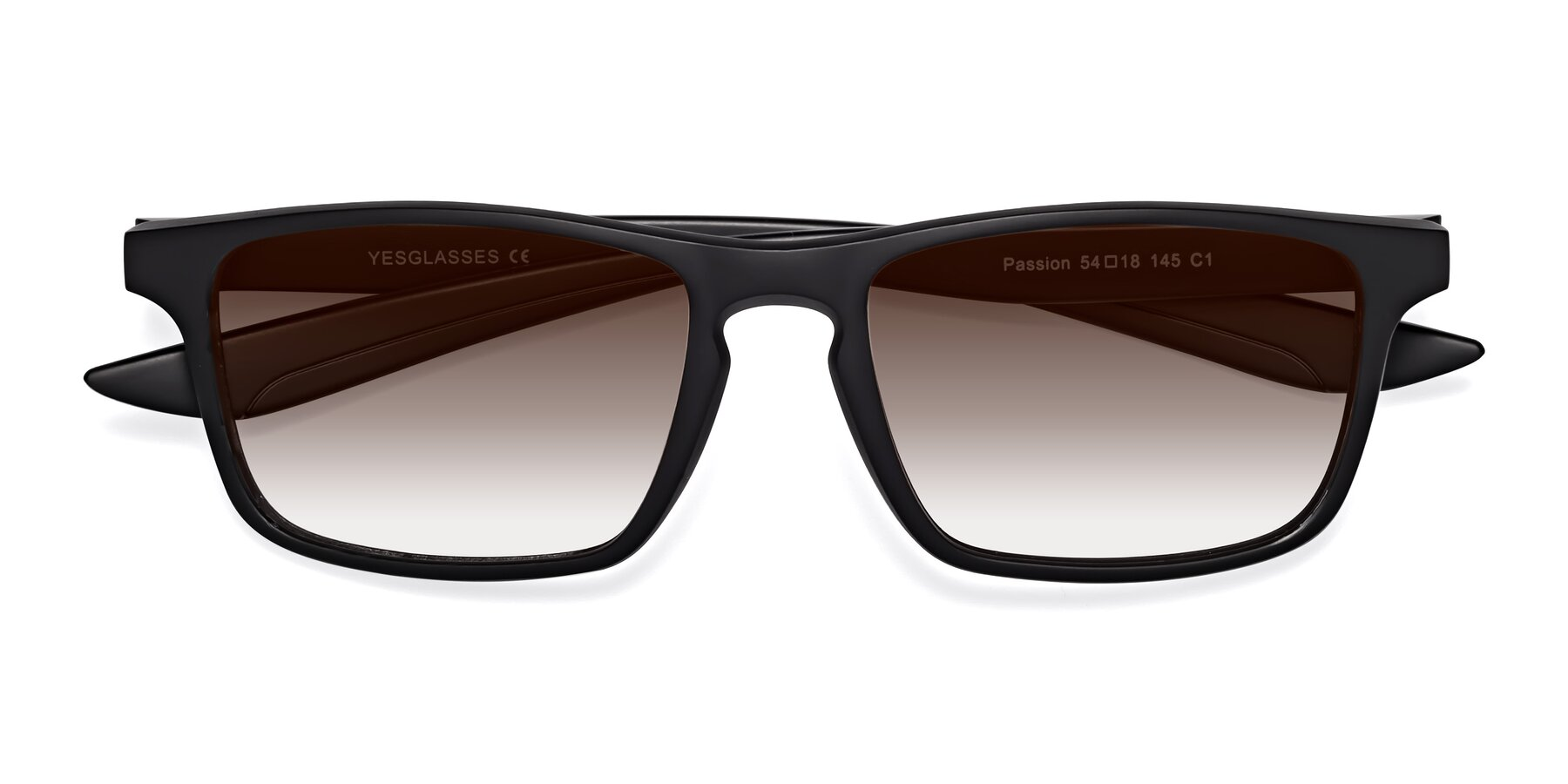 Folded Front of Passion in Matte Black with Brown Gradient Lenses