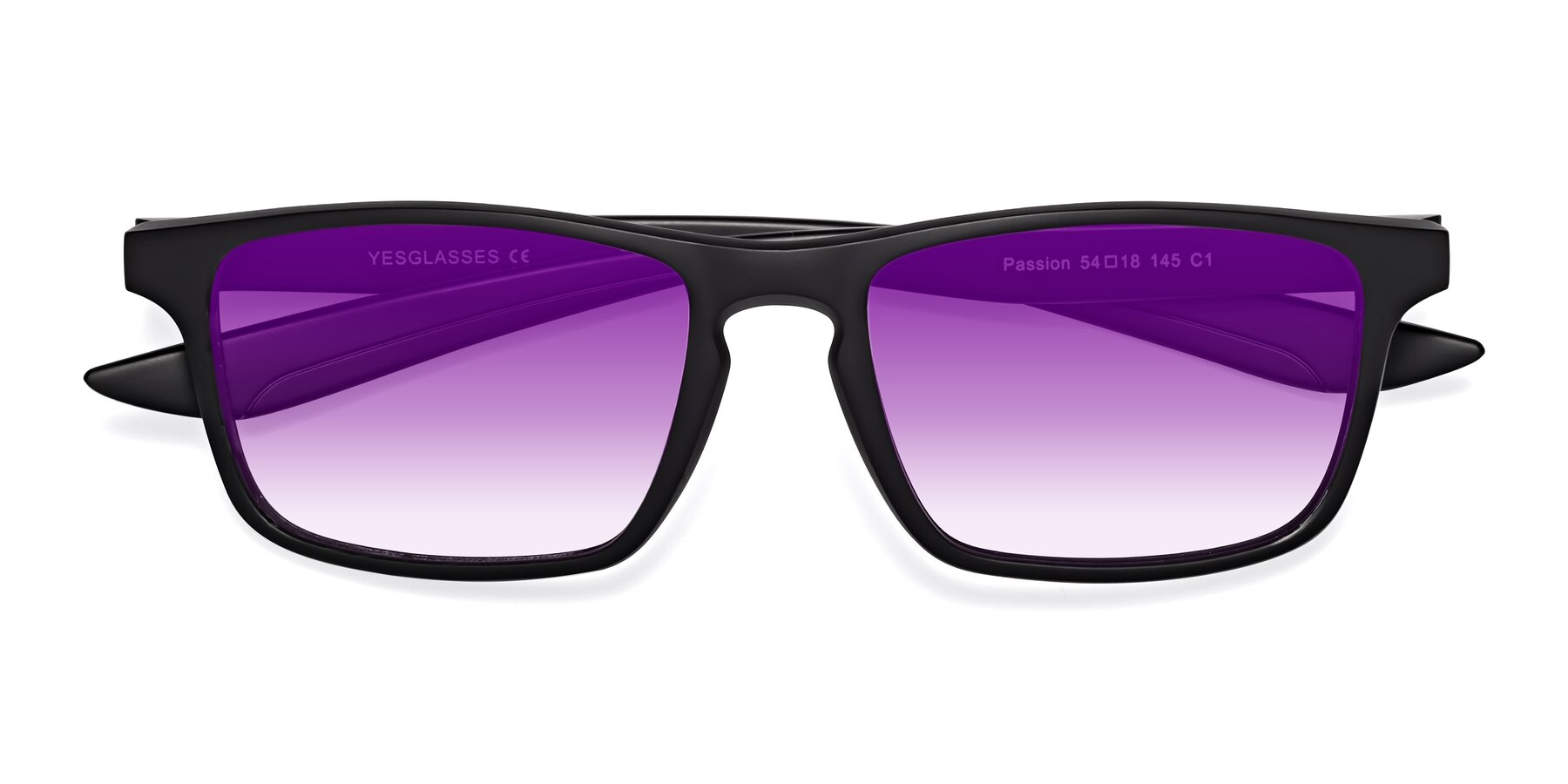 Folded Front of Passion in Matte Black with Purple Gradient Lenses