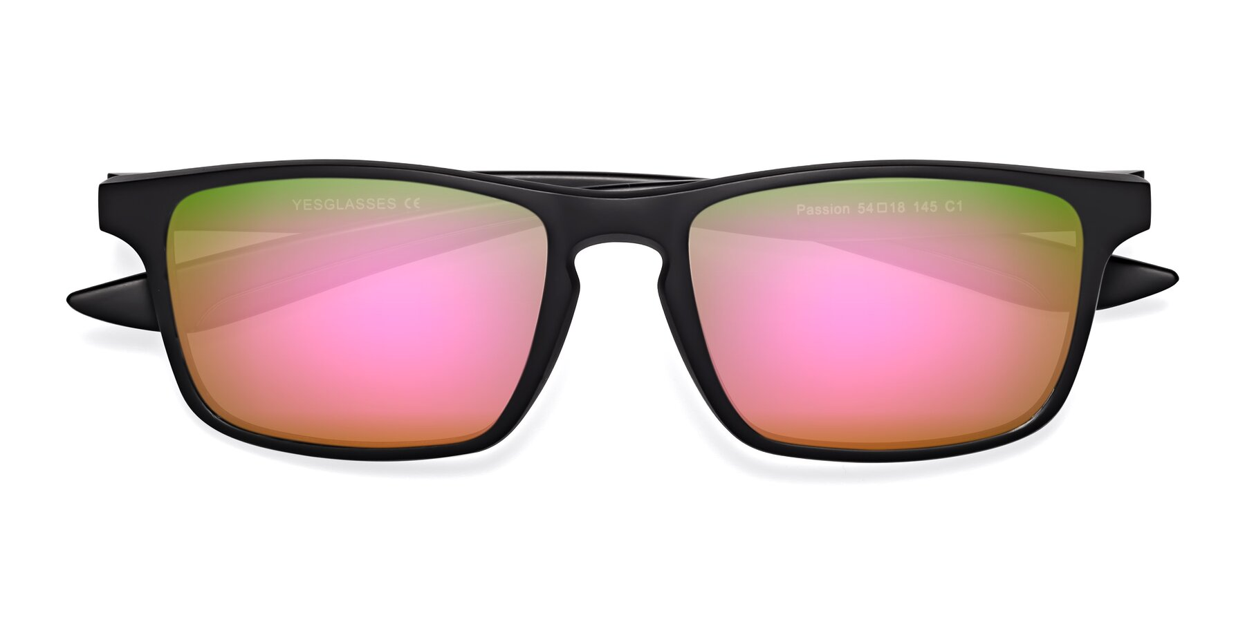 Folded Front of Passion in Matte Black with Pink Mirrored Lenses