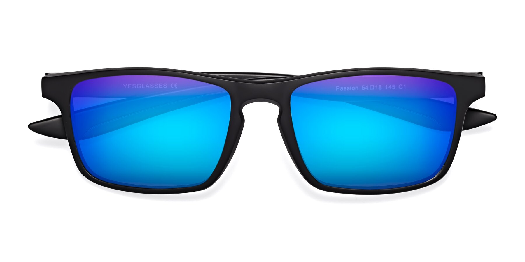 Folded Front of Passion in Matte Black with Blue Mirrored Lenses