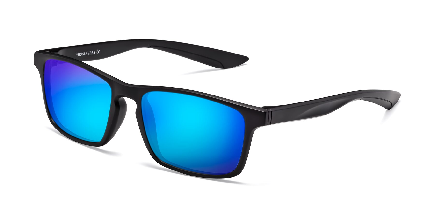 Angle of Passion in Matte Black with Blue Mirrored Lenses