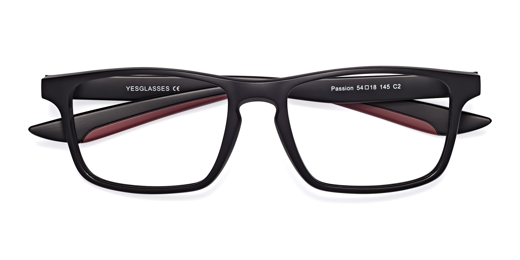 Folded Front of Passion in Matte Black-Wine with Clear Blue Light Blocking Lenses