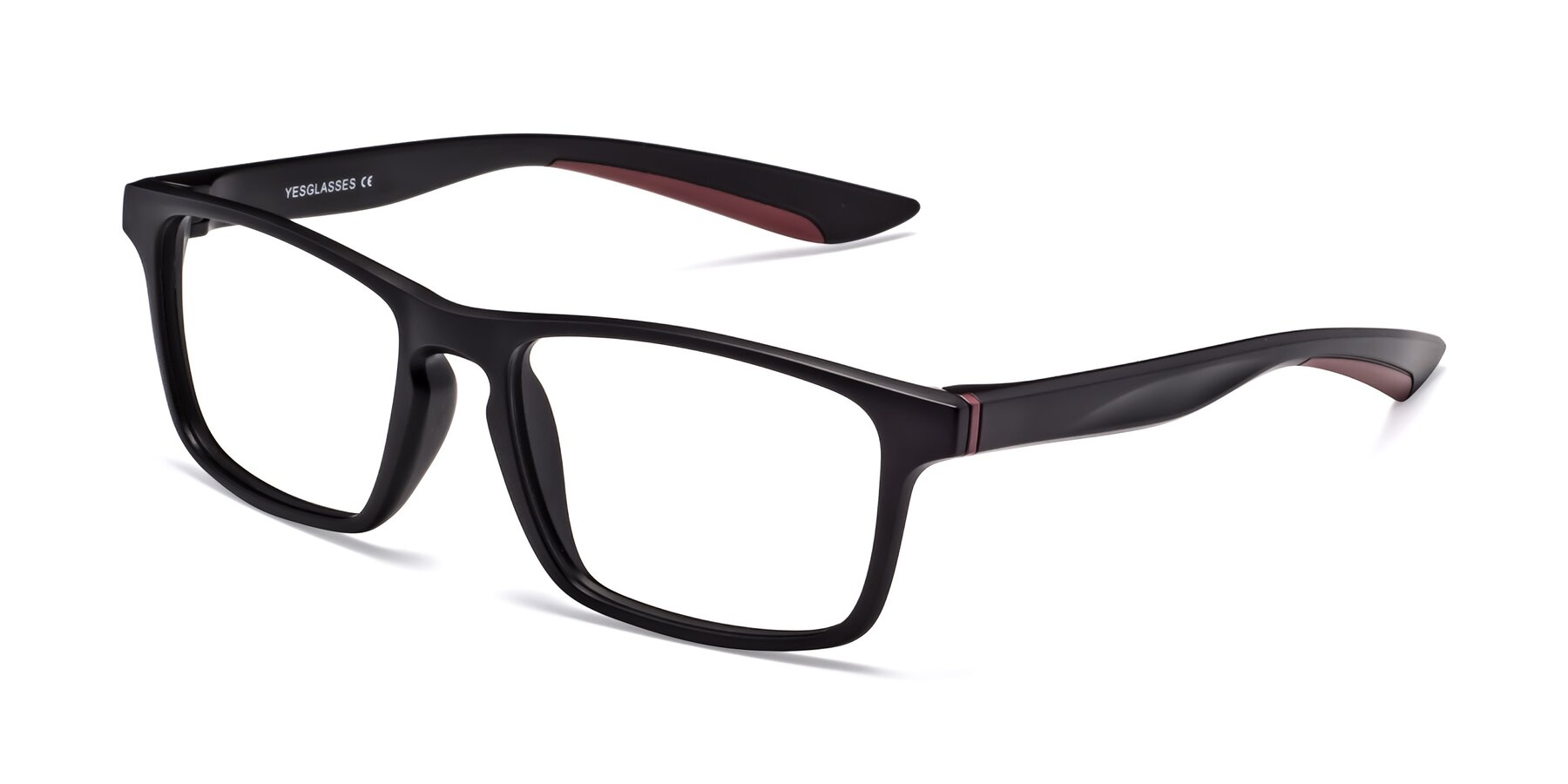 Angle of Passion in Matte Black-Wine with Clear Blue Light Blocking Lenses