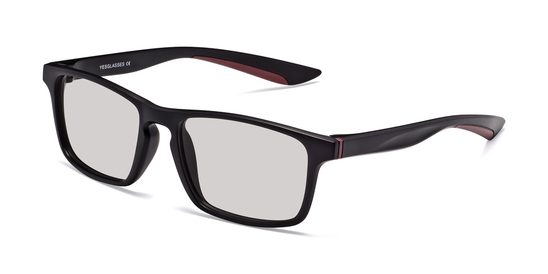 Angle of Passion in Matte Black-Wine with Light Gray Tinted Lenses