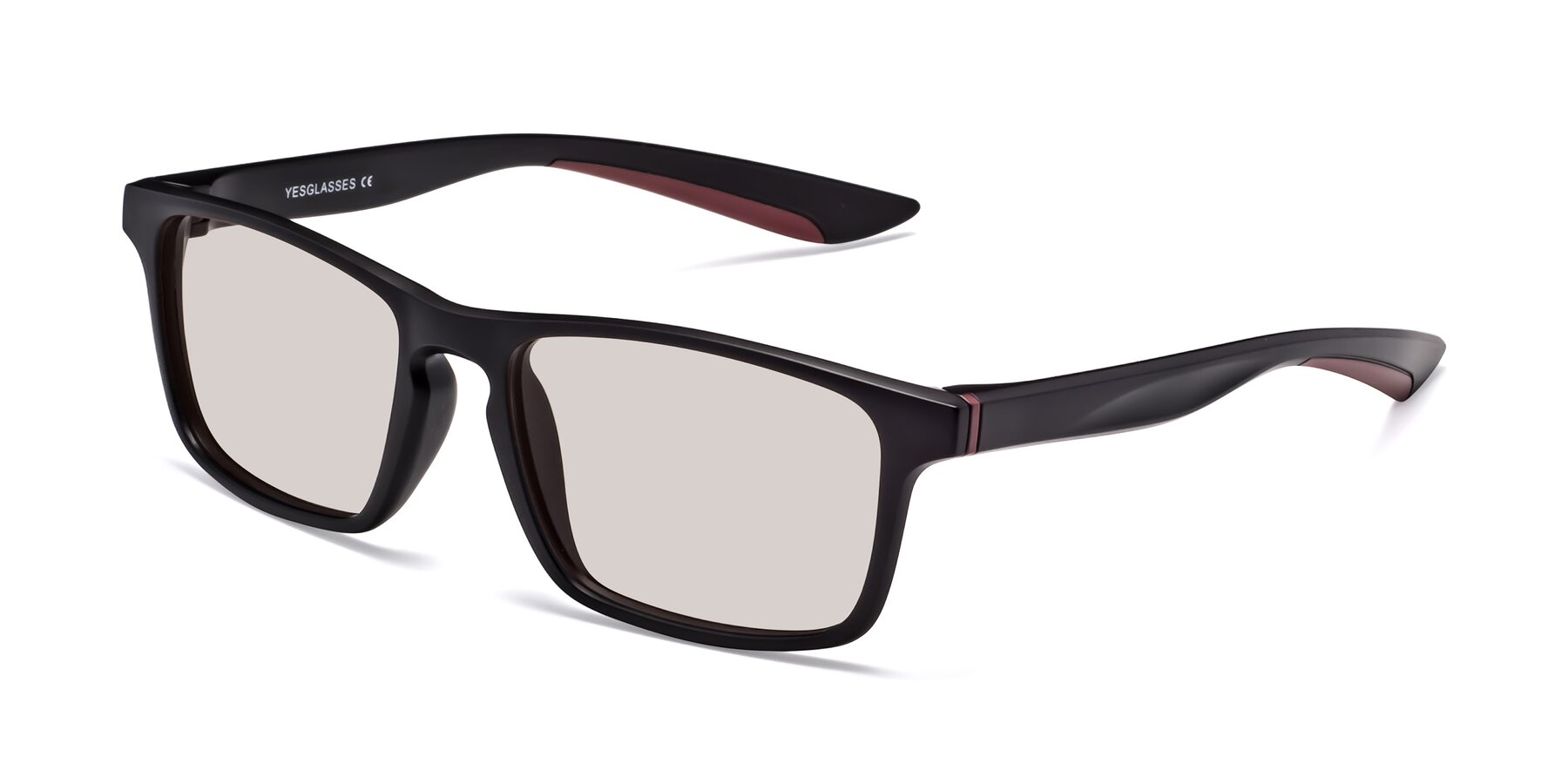 Angle of Passion in Matte Black-Wine with Light Brown Tinted Lenses