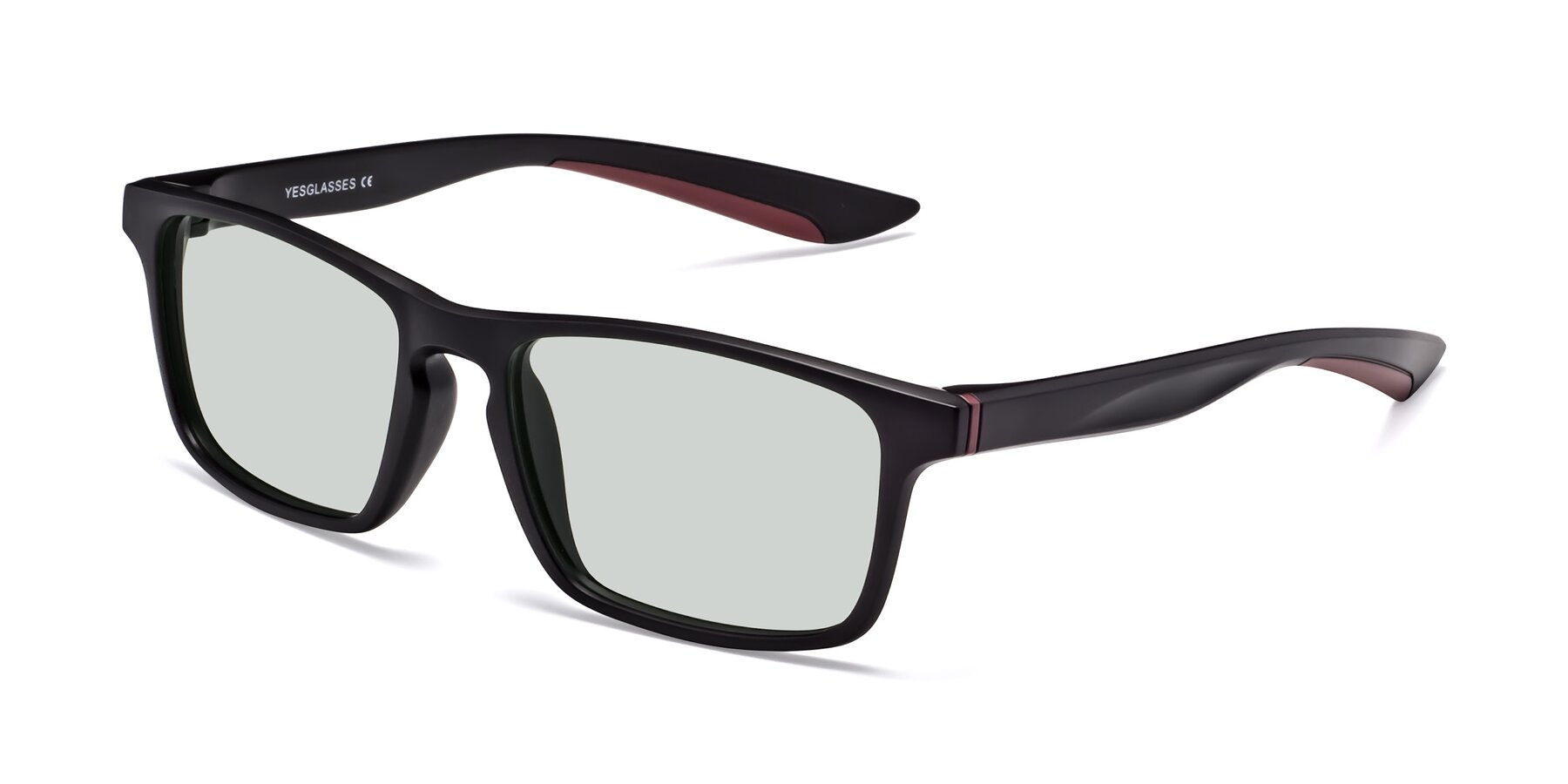 Angle of Passion in Matte Black-Wine with Light Green Tinted Lenses