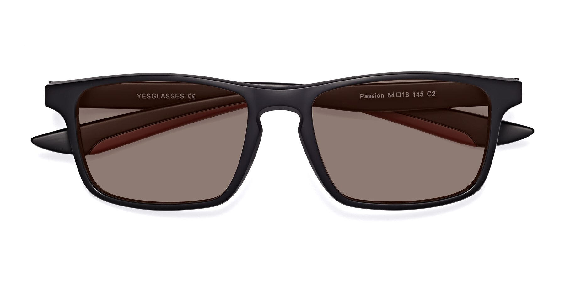 Folded Front of Passion in Matte Black-Wine with Medium Brown Tinted Lenses