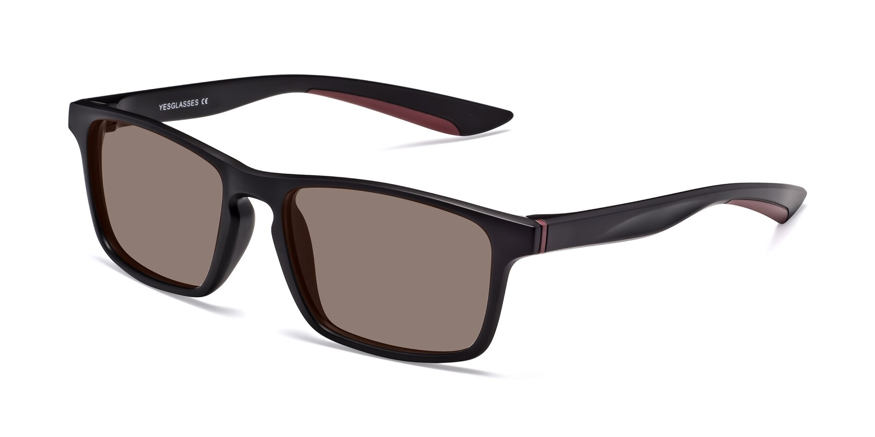 Angle of Passion in Matte Black-Wine with Medium Brown Tinted Lenses