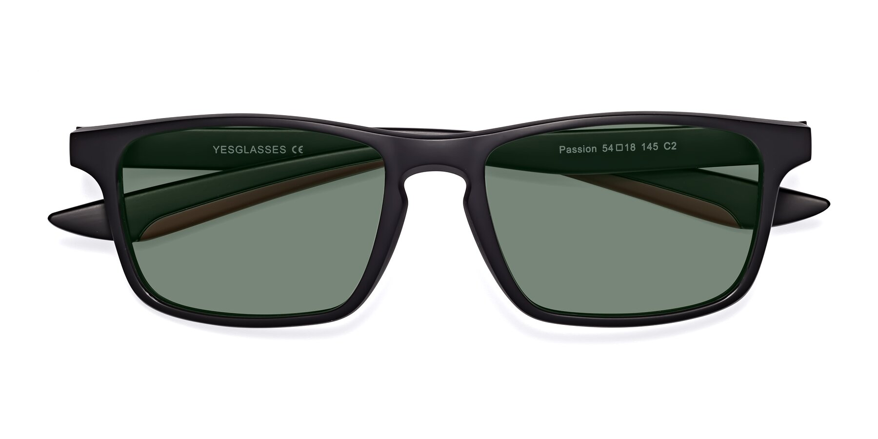 Folded Front of Passion in Matte Black-Wine with Medium Green Tinted Lenses