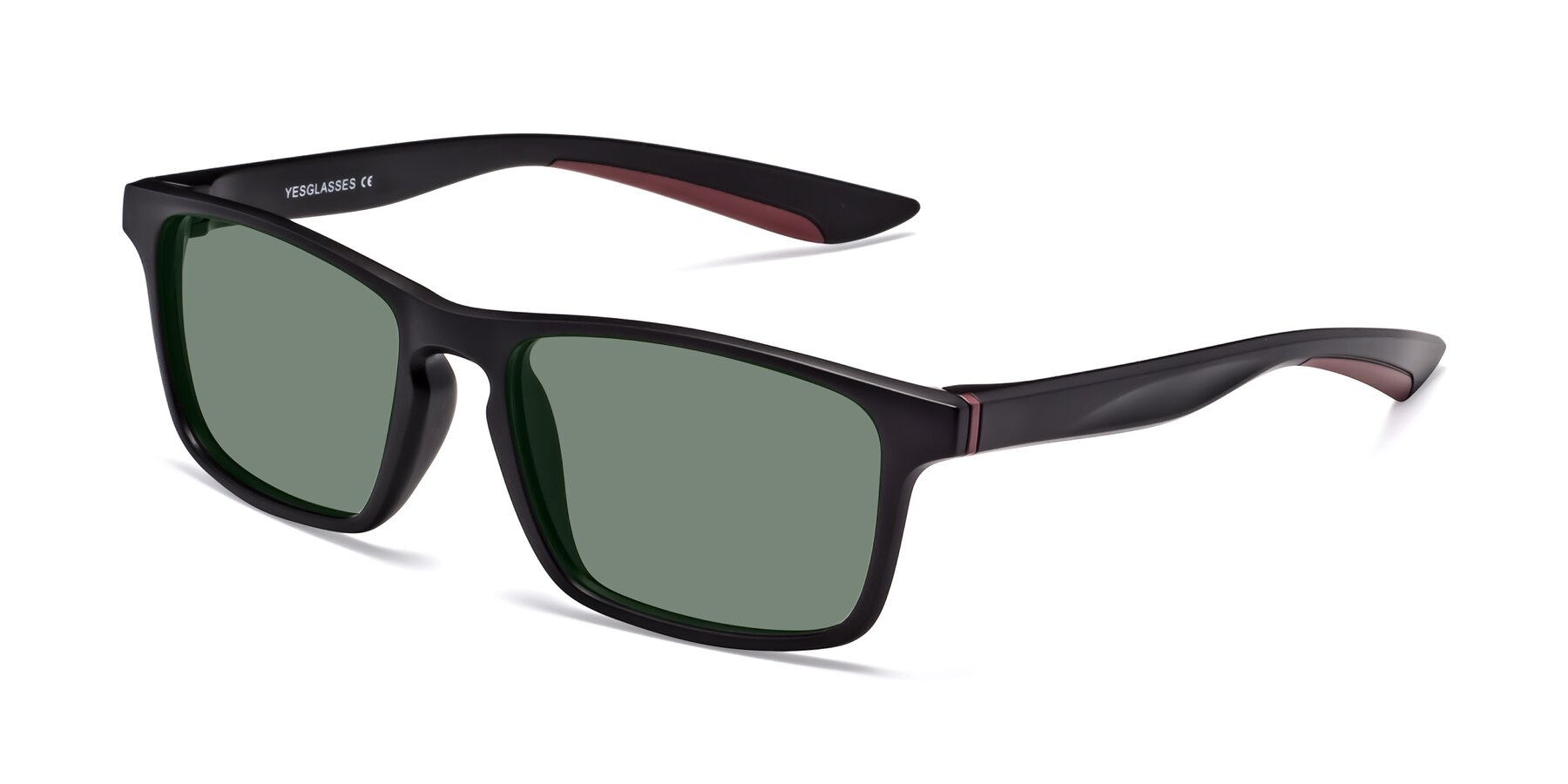 Angle of Passion in Matte Black-Wine with Medium Green Tinted Lenses