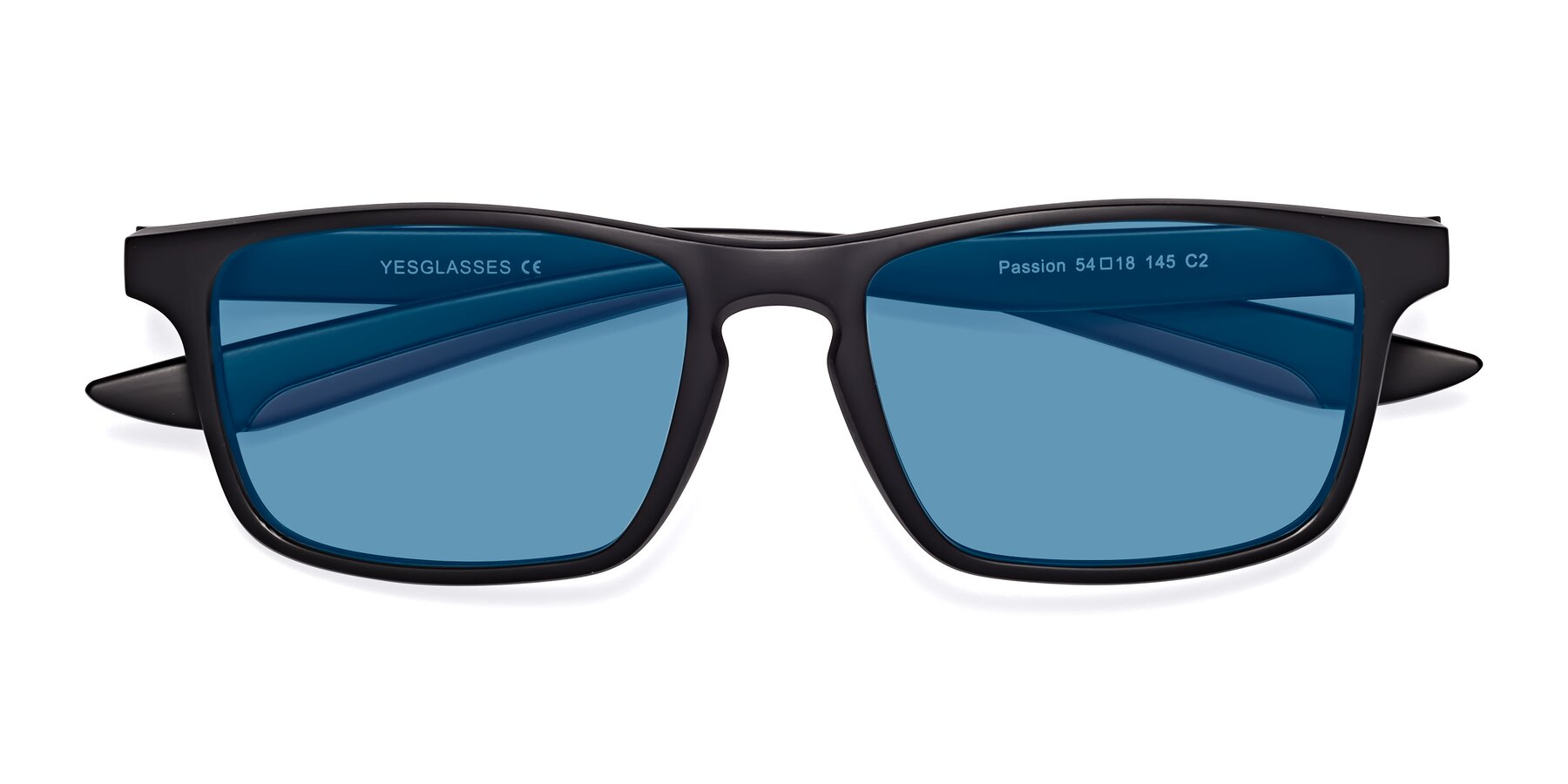 Folded Front of Passion in Matte Black-Wine with Medium Blue Tinted Lenses