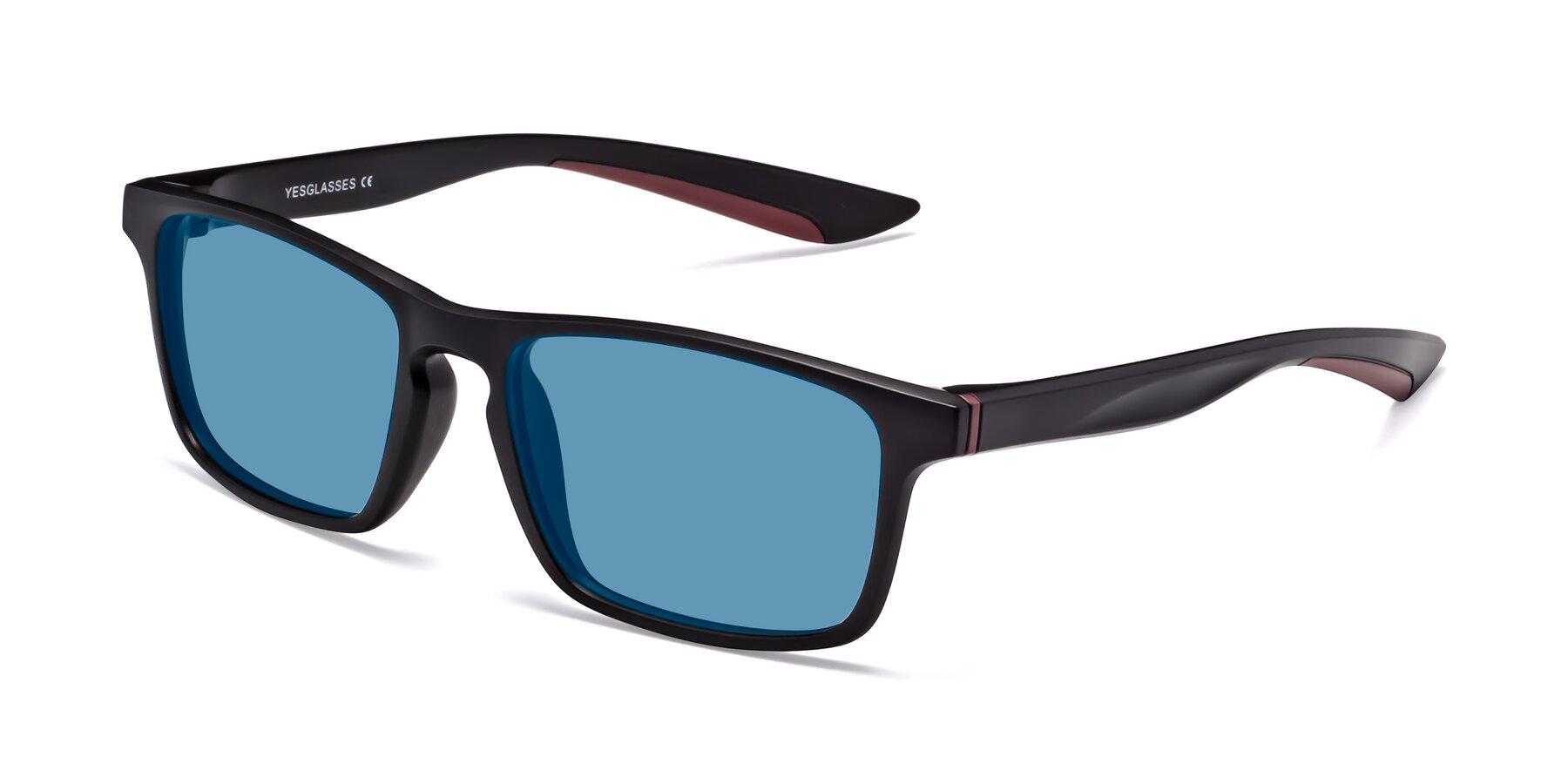 Angle of Passion in Matte Black-Wine with Medium Blue Tinted Lenses