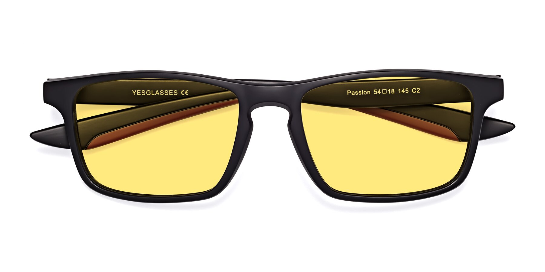 Folded Front of Passion in Matte Black-Wine with Medium Yellow Tinted Lenses
