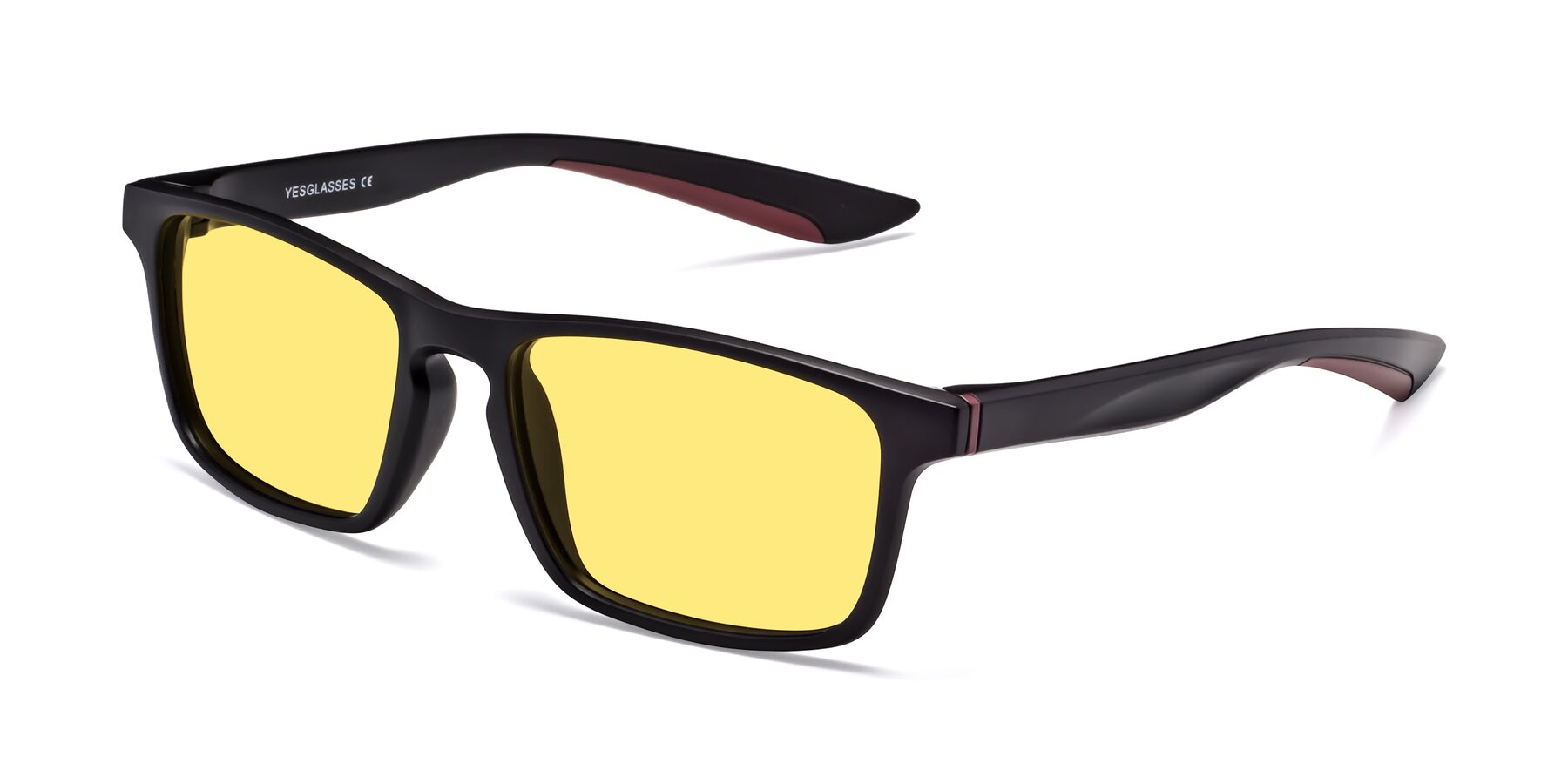 Angle of Passion in Matte Black-Wine with Medium Yellow Tinted Lenses