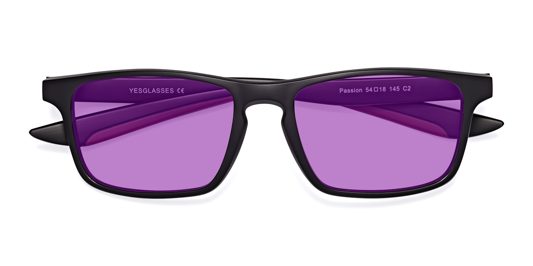 Folded Front of Passion in Matte Black-Wine with Medium Purple Tinted Lenses