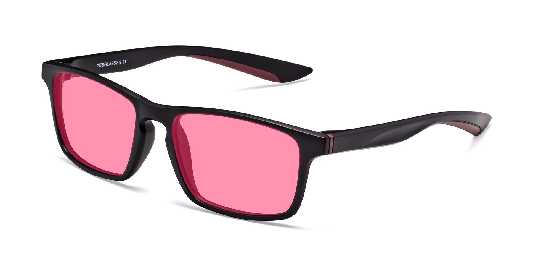 Angle of Passion in Matte Black-Wine with Pink Tinted Lenses