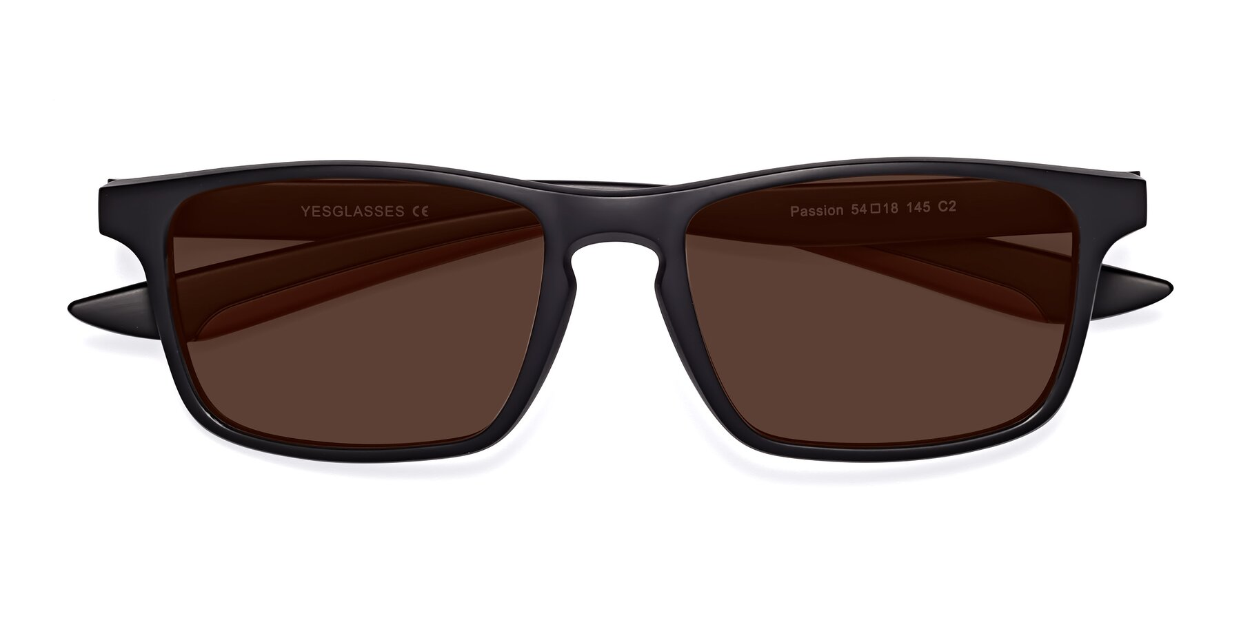 Folded Front of Passion in Matte Black-Wine with Brown Tinted Lenses