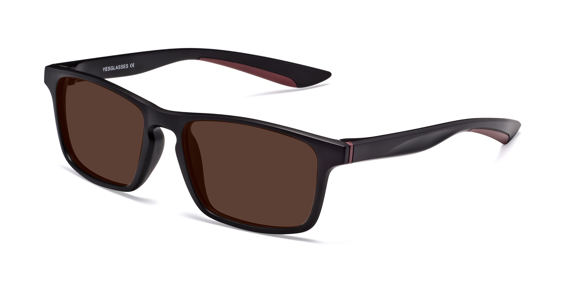 Angle of Passion in Matte Black-Wine with Brown Tinted Lenses