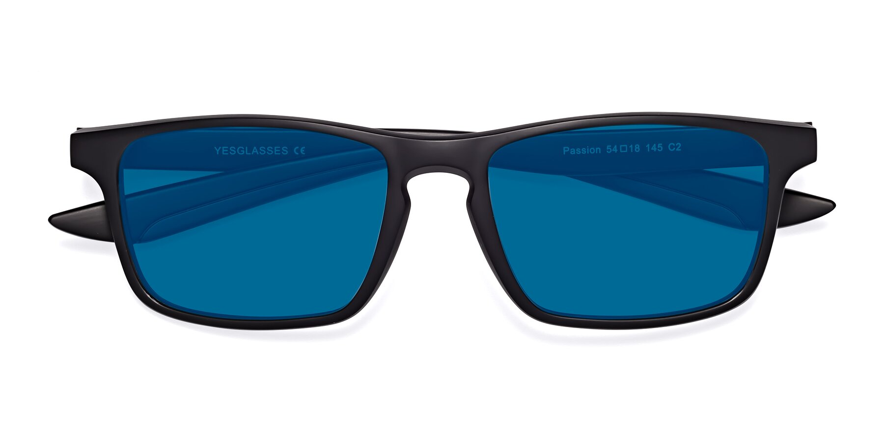 Folded Front of Passion in Matte Black-Wine with Blue Tinted Lenses