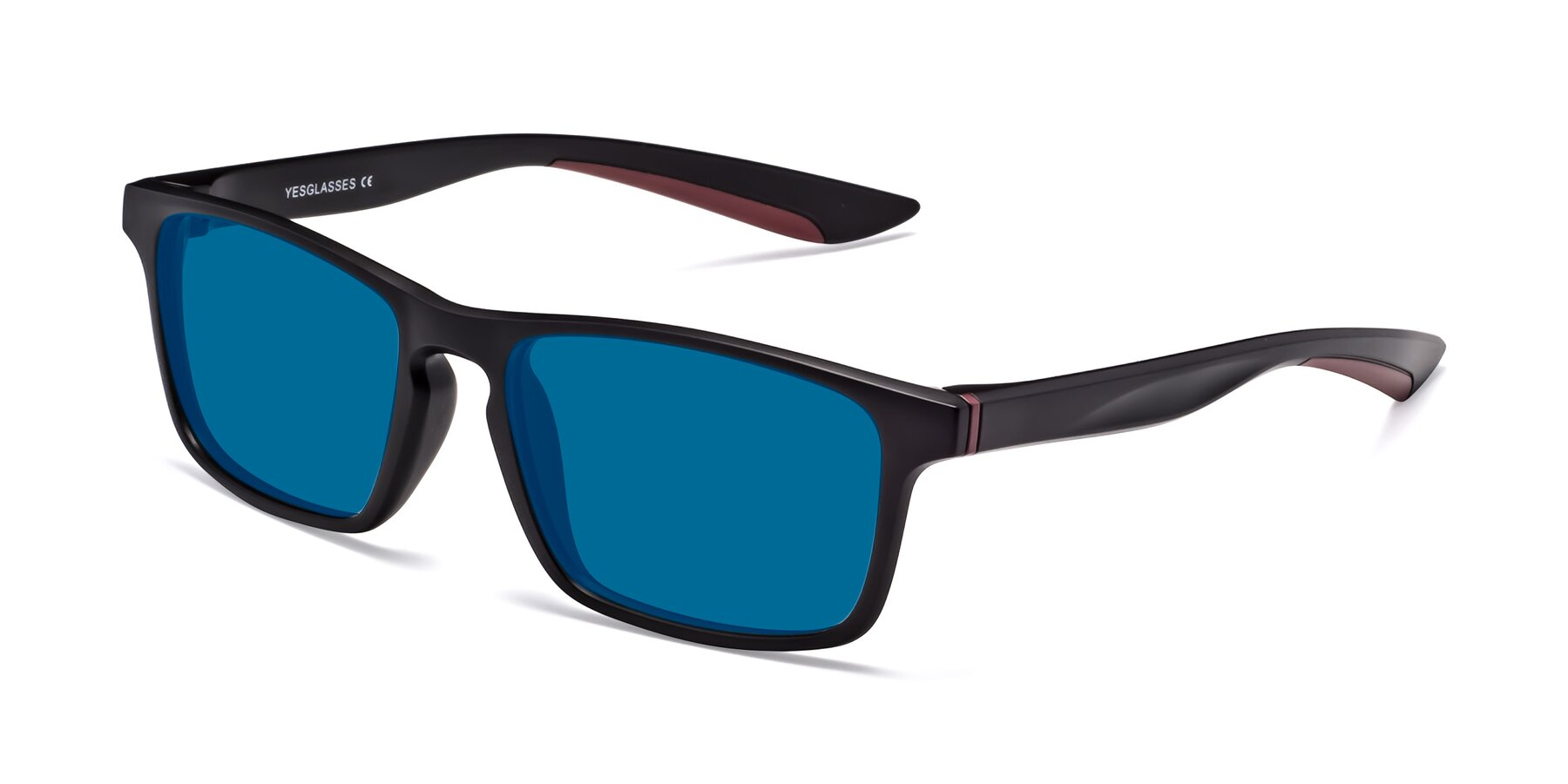 Angle of Passion in Matte Black-Wine with Blue Tinted Lenses
