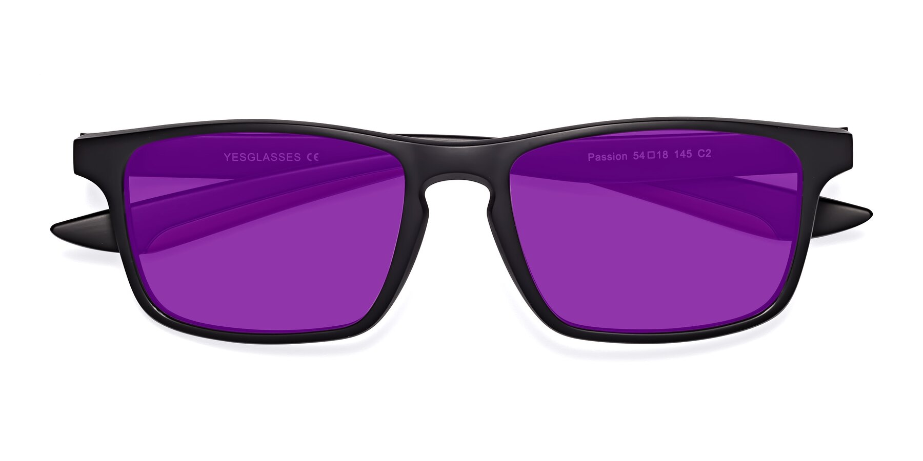 Folded Front of Passion in Matte Black-Wine with Purple Tinted Lenses