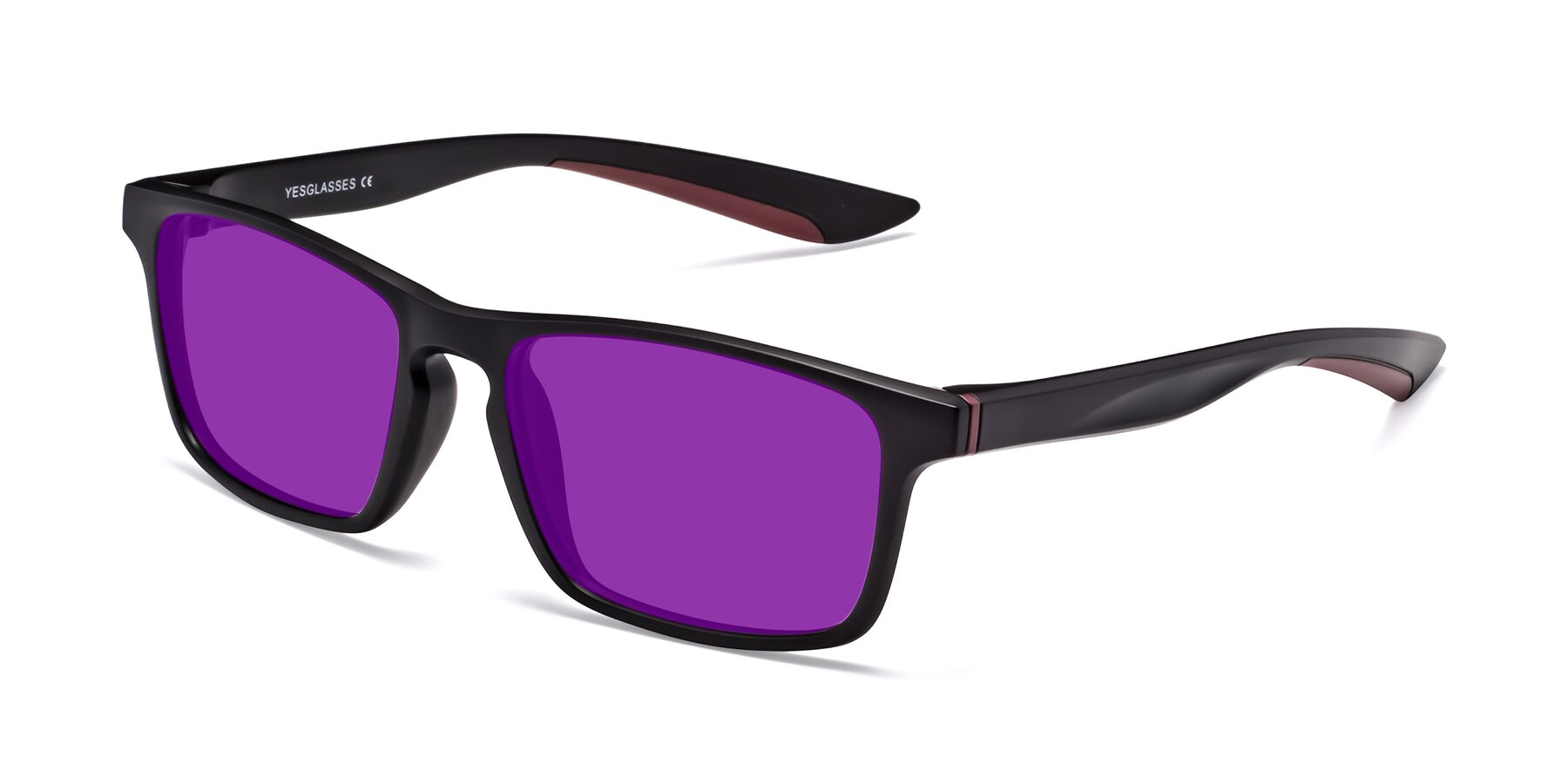 Angle of Passion in Matte Black-Wine with Purple Tinted Lenses