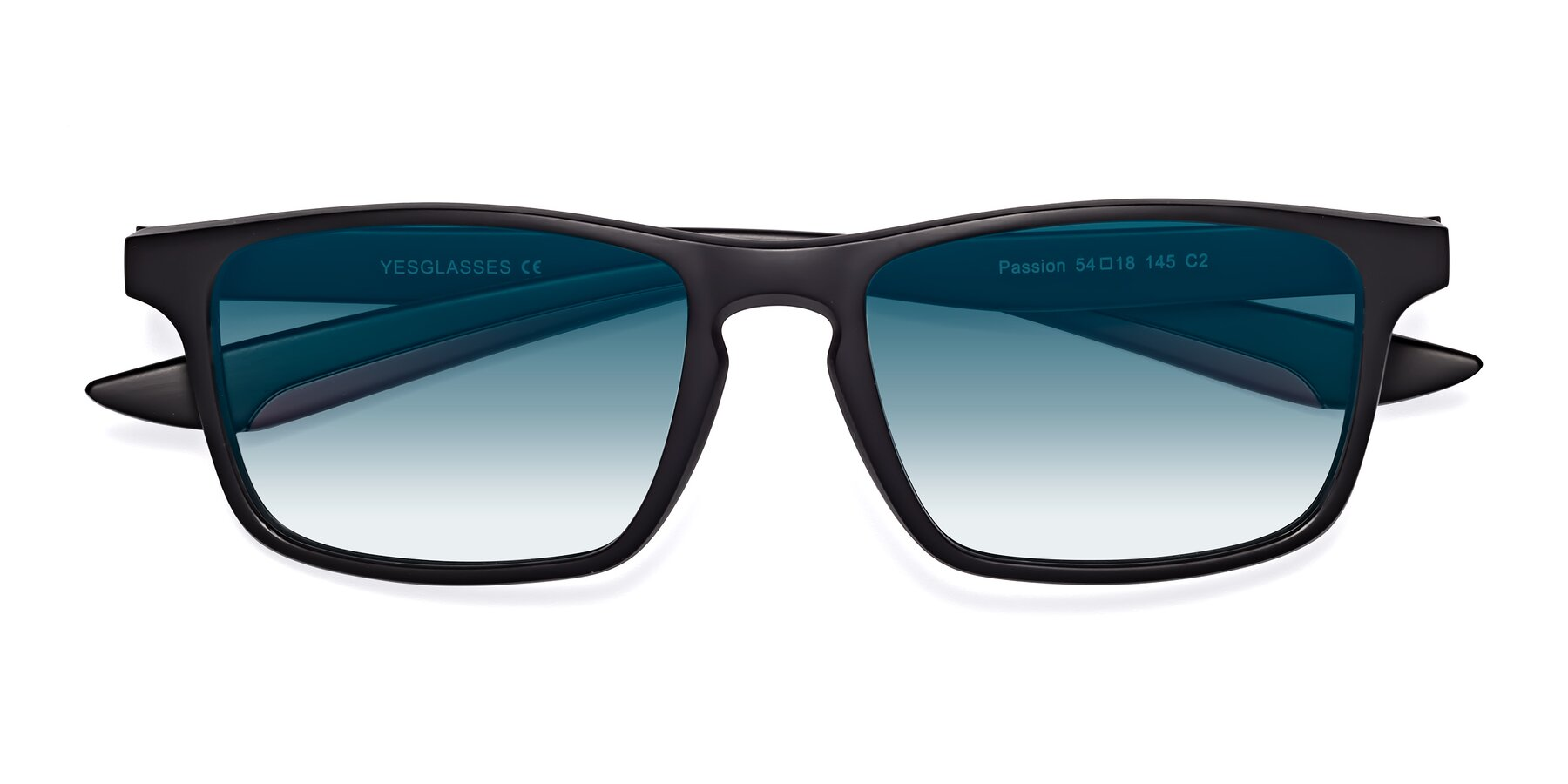Folded Front of Passion in Matte Black-Wine with Blue Gradient Lenses