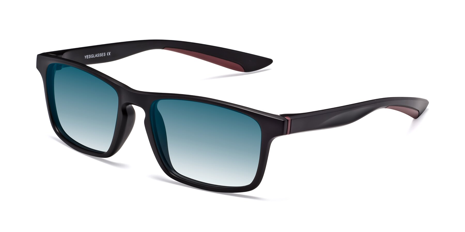 Angle of Passion in Matte Black-Wine with Blue Gradient Lenses