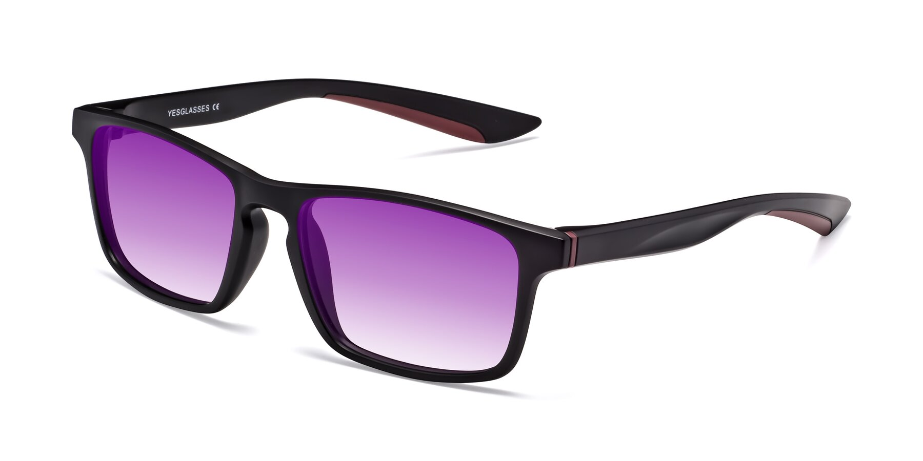 Angle of Passion in Matte Black-Wine with Purple Gradient Lenses