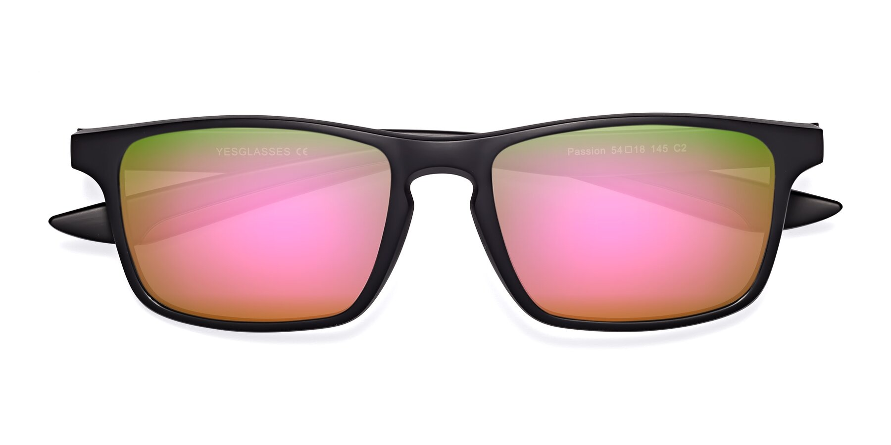 Folded Front of Passion in Matte Black-Wine with Pink Mirrored Lenses