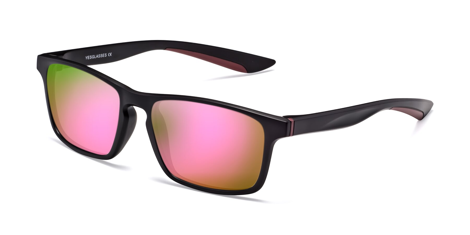 Angle of Passion in Matte Black-Wine with Pink Mirrored Lenses
