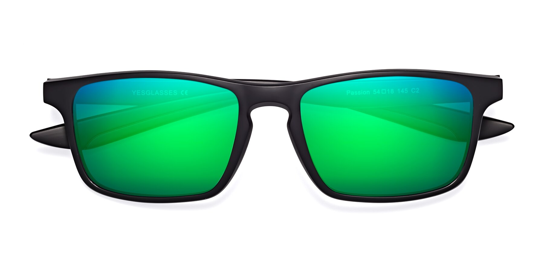 Folded Front of Passion in Matte Black-Wine with Green Mirrored Lenses