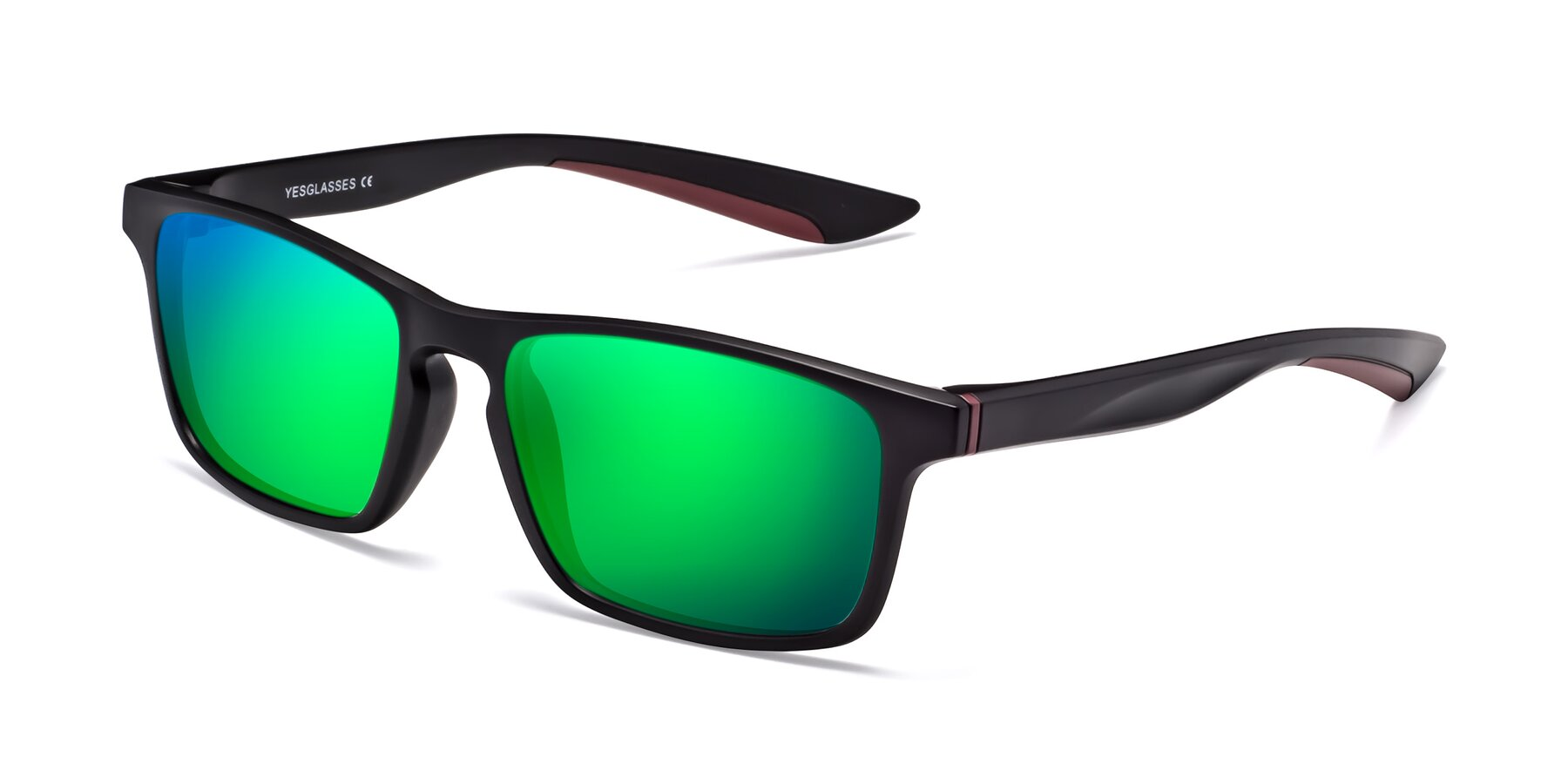Angle of Passion in Matte Black-Wine with Green Mirrored Lenses