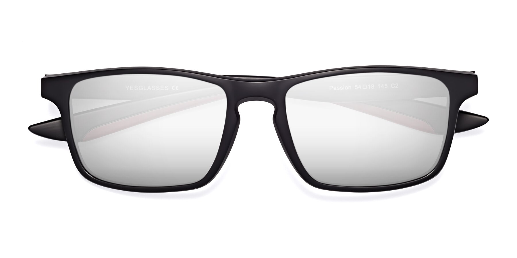 Folded Front of Passion in Matte Black-Wine with Silver Mirrored Lenses