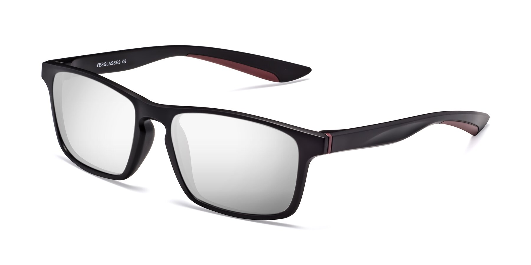 Angle of Passion in Matte Black-Wine with Silver Mirrored Lenses