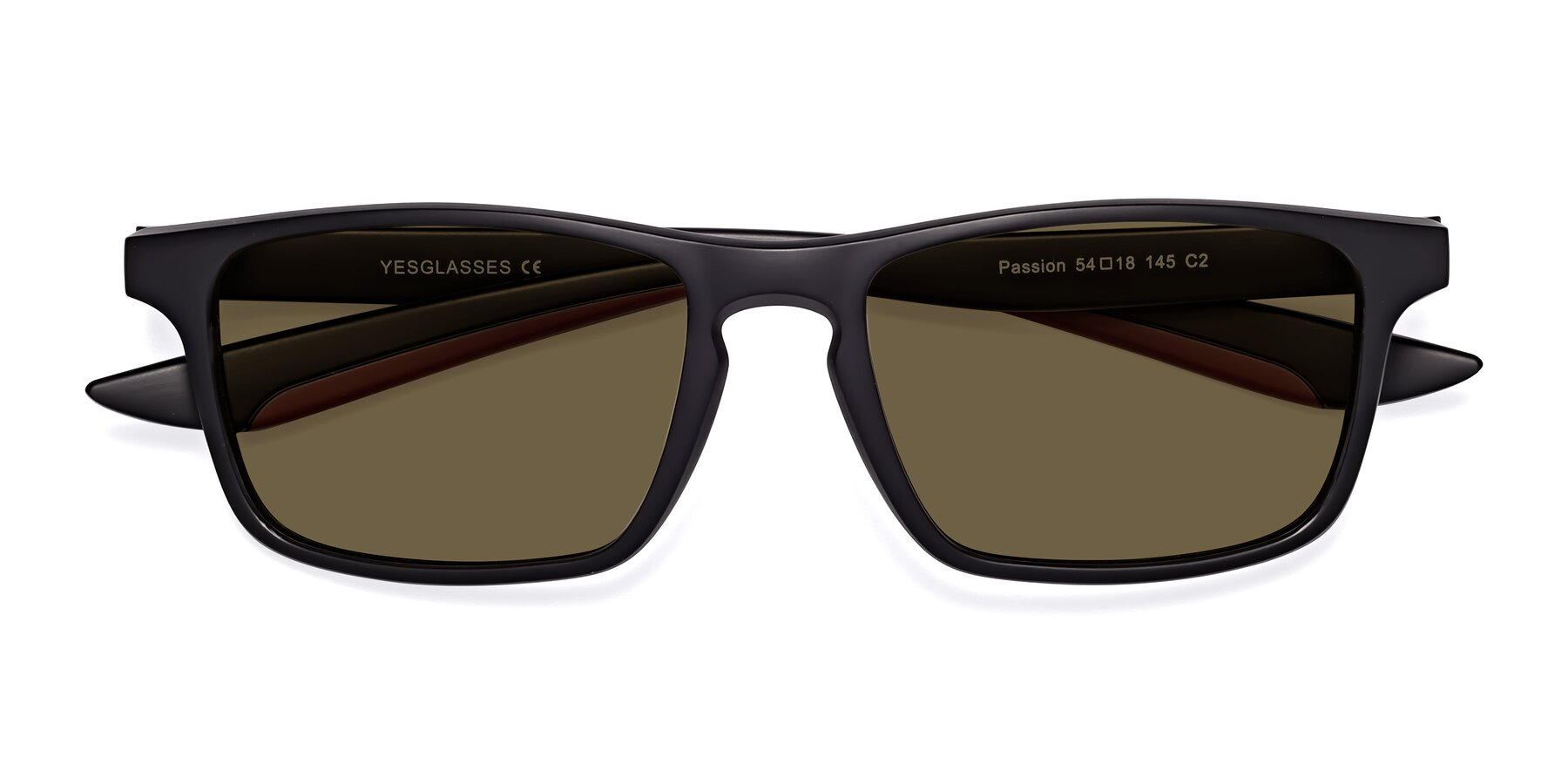 Folded Front of Passion in Matte Black-Wine with Brown Polarized Lenses