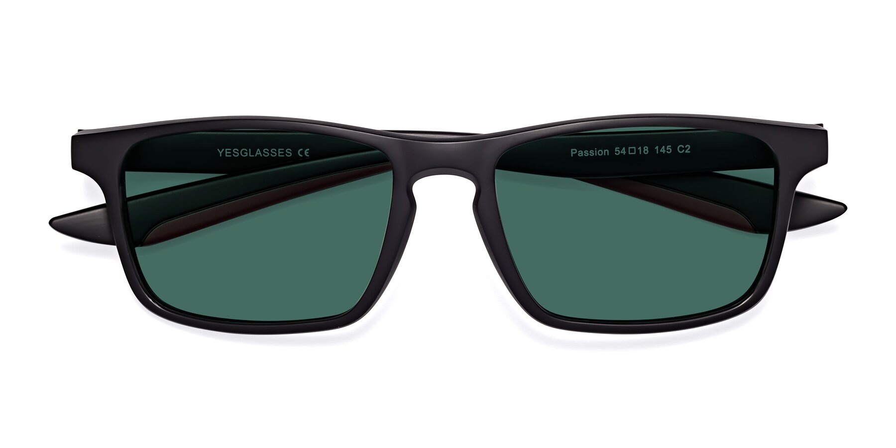 Folded Front of Passion in Matte Black-Wine with Green Polarized Lenses