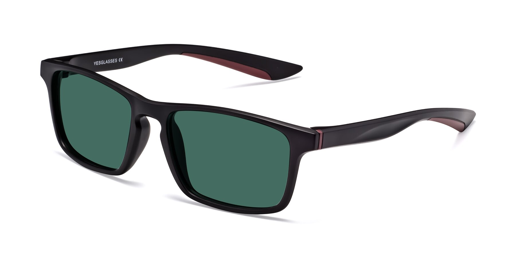 Angle of Passion in Matte Black-Wine with Green Polarized Lenses