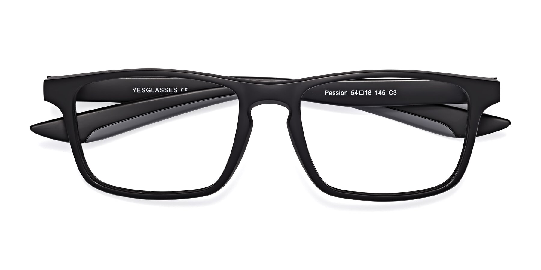 Folded Front of Passion in Matte Black-Gray with Clear Blue Light Blocking Lenses