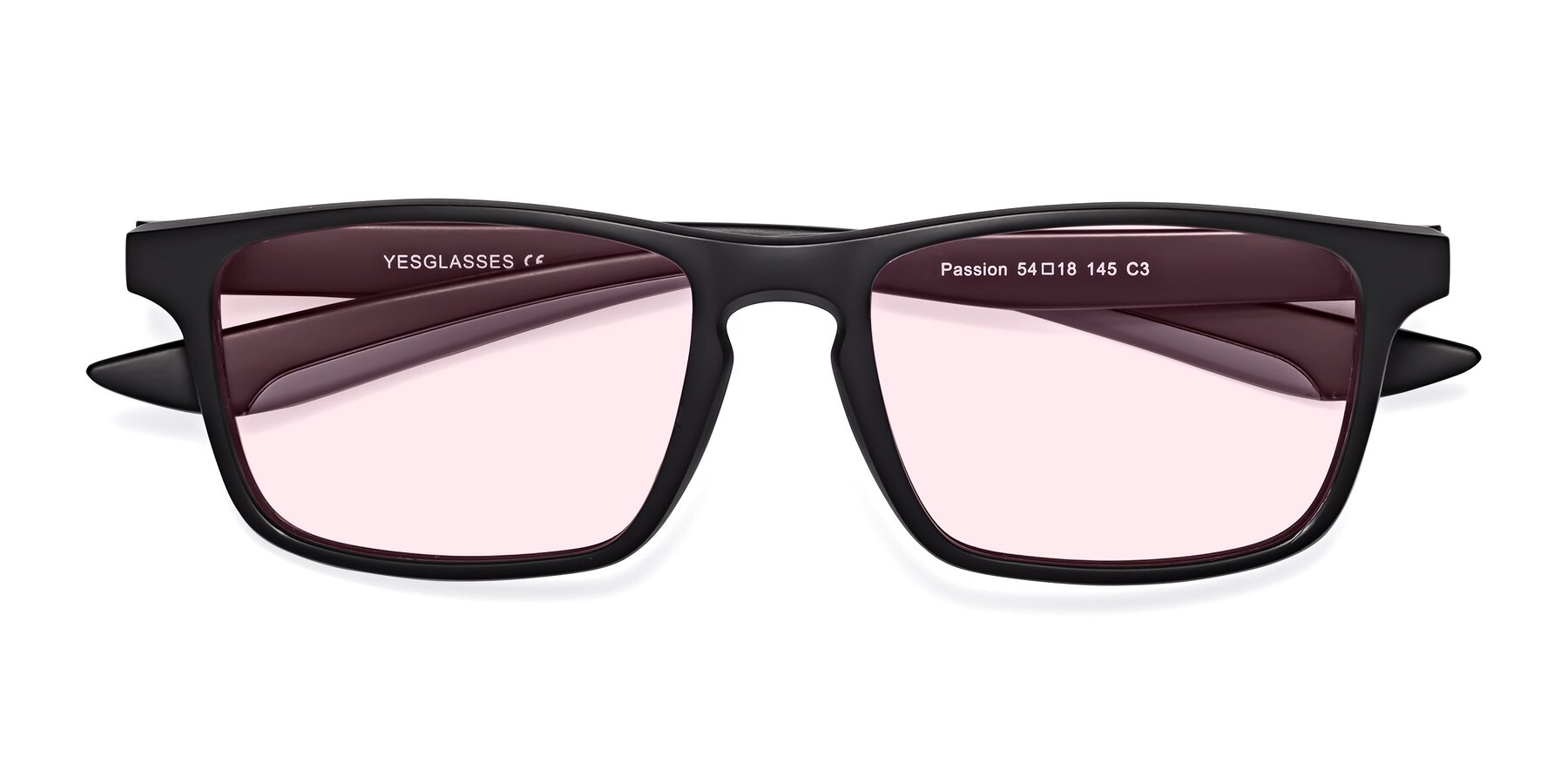 Folded Front of Passion in Matte Black-Gray with Light Pink Tinted Lenses