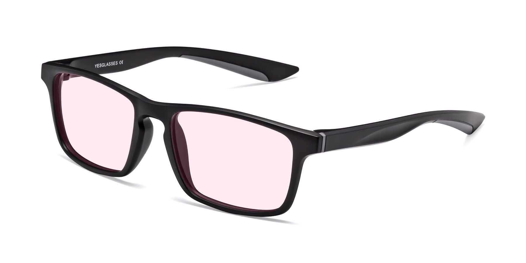 Angle of Passion in Matte Black-Gray with Light Pink Tinted Lenses