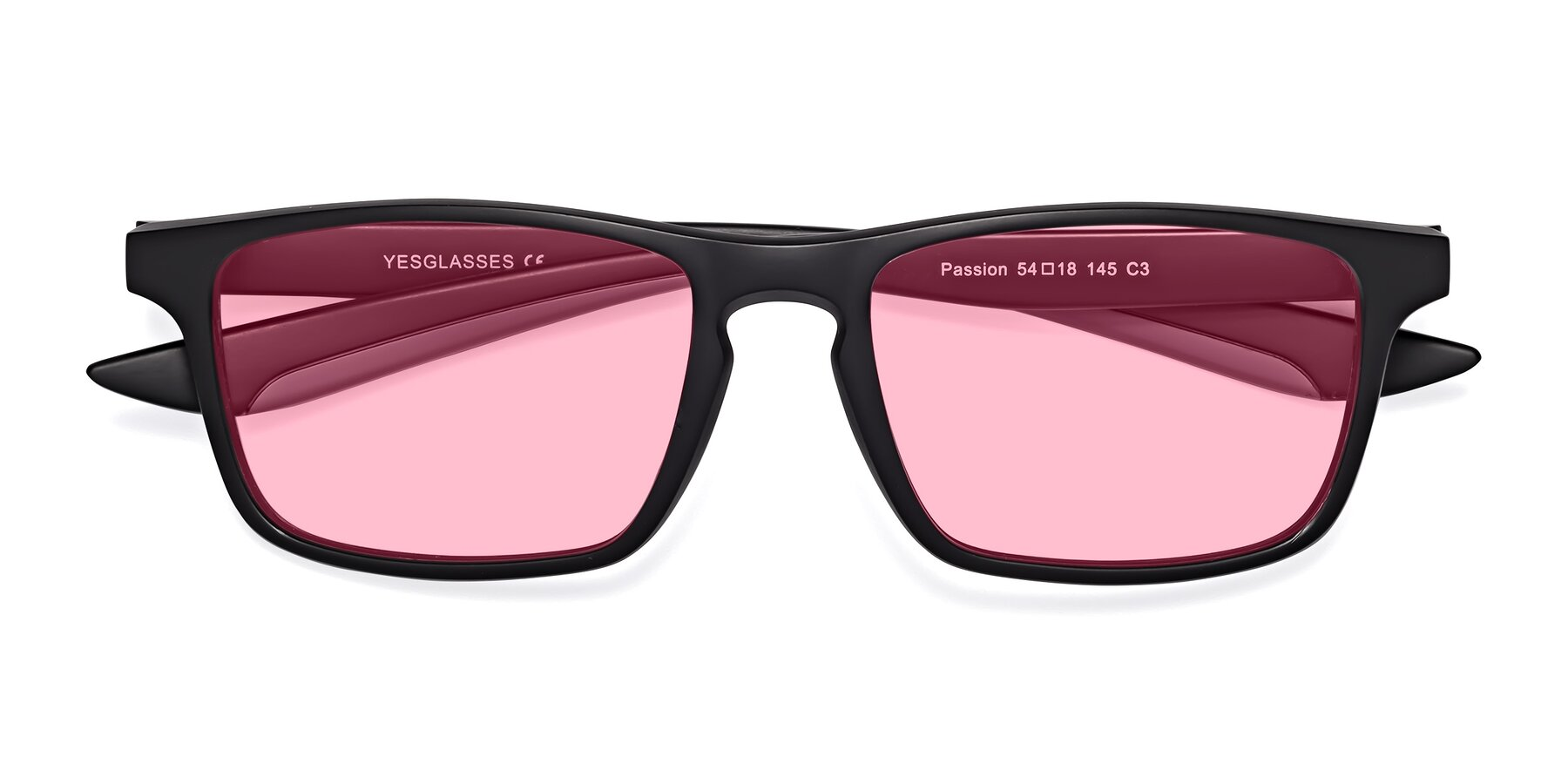 Folded Front of Passion in Matte Black-Gray with Medium Pink Tinted Lenses