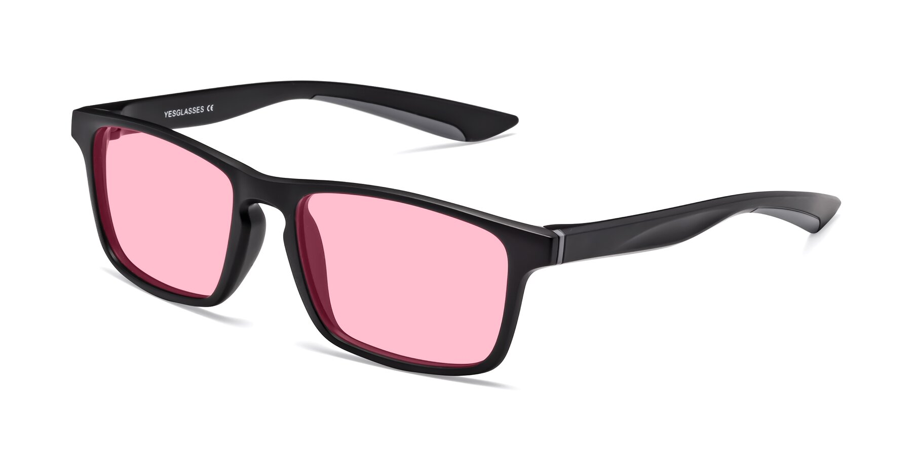 Angle of Passion in Matte Black-Gray with Medium Pink Tinted Lenses