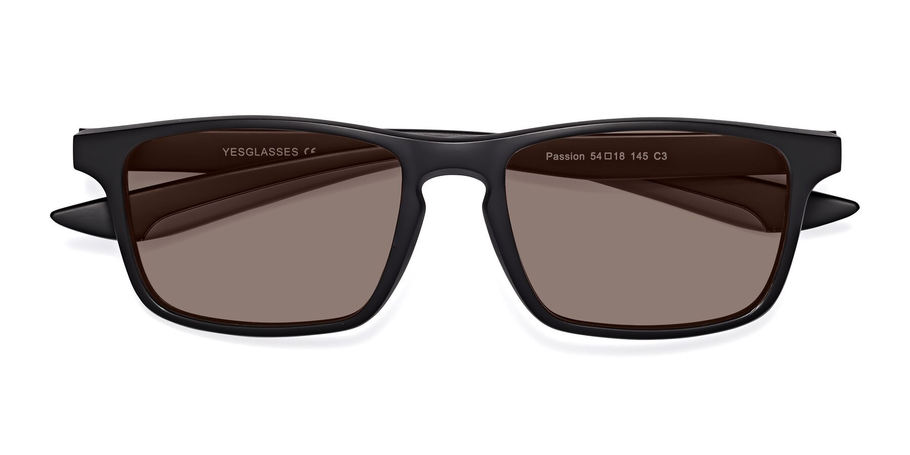 Folded Front of Passion in Matte Black-Gray with Medium Brown Tinted Lenses