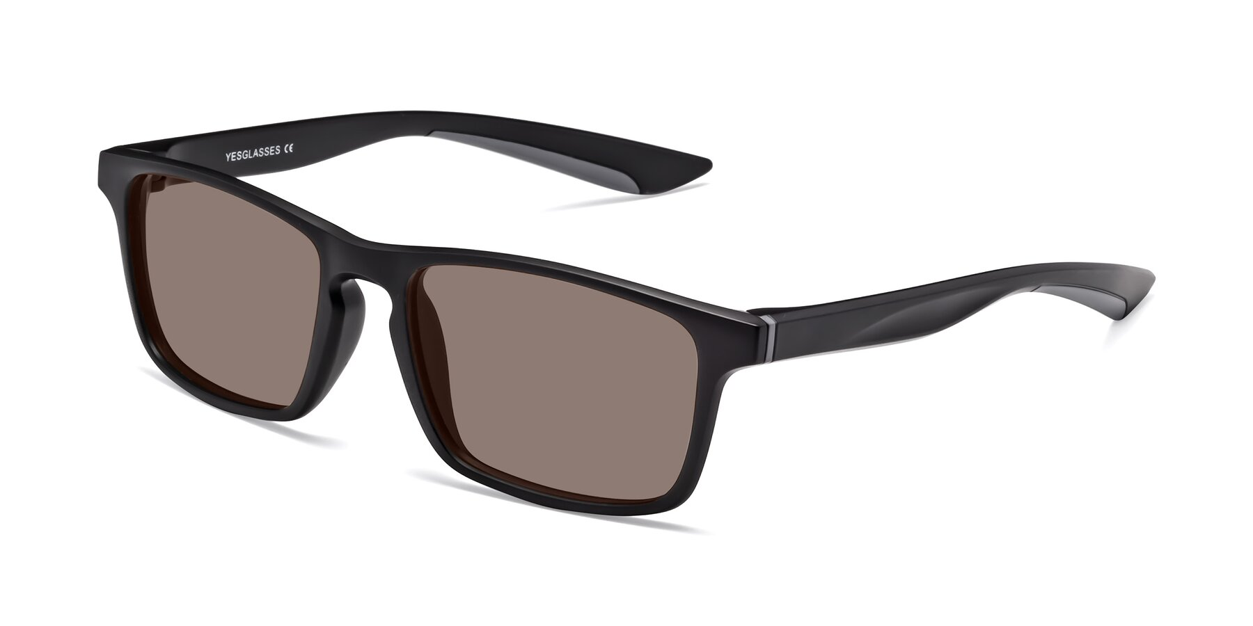 Angle of Passion in Matte Black-Gray with Medium Brown Tinted Lenses