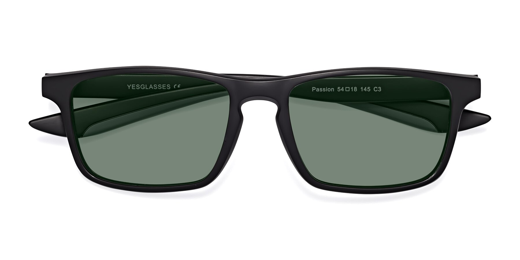 Folded Front of Passion in Matte Black-Gray with Medium Green Tinted Lenses