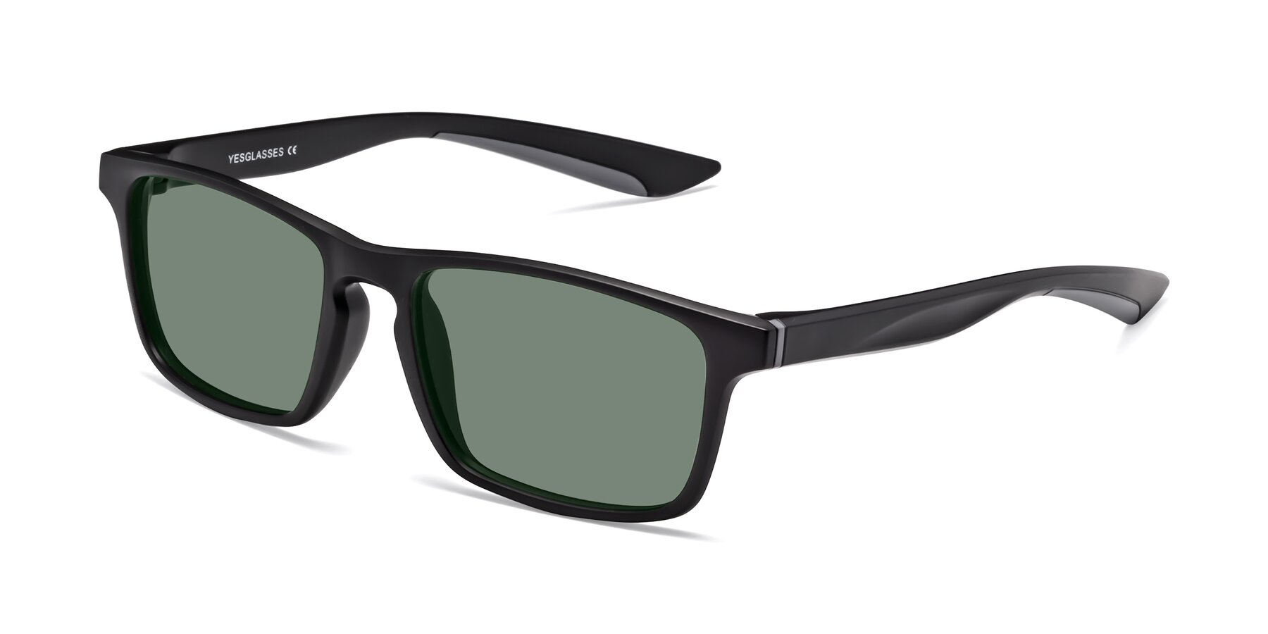 Angle of Passion in Matte Black-Gray with Medium Green Tinted Lenses